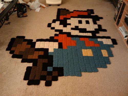 racoon mario crochet art
