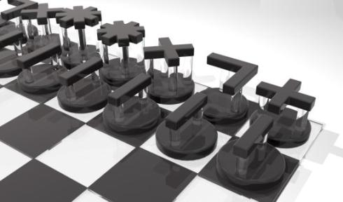 intuitive chess set pieces close up