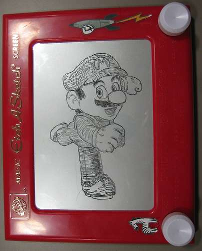 super mario brothers etch a sketch drawing