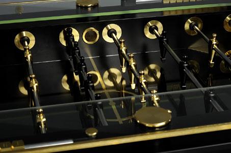 gold lux foosball closeup