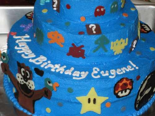 retro video game cake