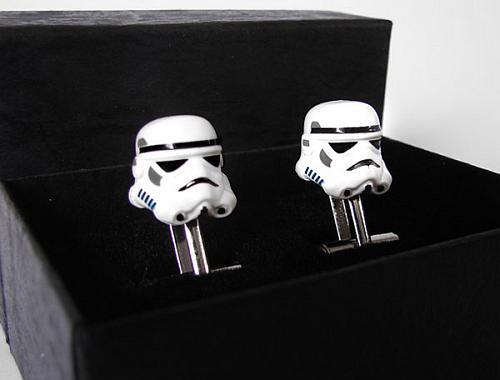 Chrome Star Wars Storm Trooper Lego Silver Cufflinks in box