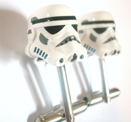 Chrome Star Wars Storm Trooper Lego Silver Cufflinks