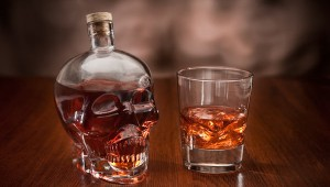 glass skull decanter 1